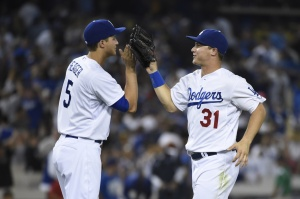 Joc Pederson (31) and Corey Seager (5) are a bright young spot for the Dodgers. (Richard Mackson-USA TODAY Sports)